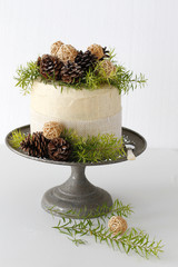 Layered cake on Vintage metal cake stand