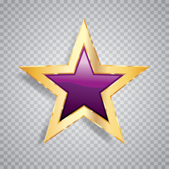 one purple gold star