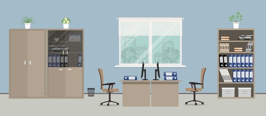 Office room in a blue color. There are tables, beige chairs, cases for documents and other objects in the picture. Vector flat illustration