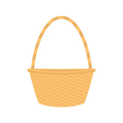 Vector flat cartoon empty straw wicker basket