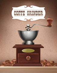 Old wooden hand coffee grinder