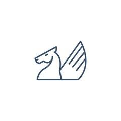 Pegasus Line Vector Logo Design Element