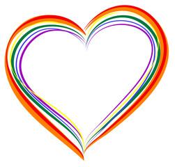 LGBT rainbow heart symbol of love
