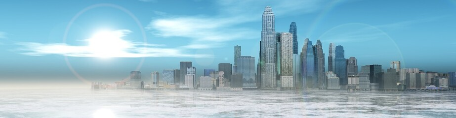 Panorama of winter city. Ice and skyscrapers.