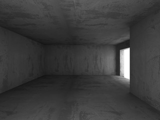 Abstract Empty Concrete Walls Dark Illuminated Room Background