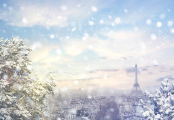 Christmas background : Aerial view of Paris cityscape with Eiffel tower at winter sunset in France. Vintage colored picture. X-mas, Business, Love and travel concept .
