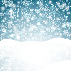 Winter background with snow. Christmas  banner. Vector
