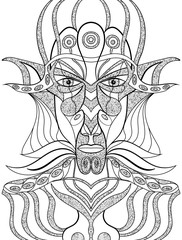 Portrait of a demon in abstract style. Sacred vector illustration. Mysterious, symbolic, shamanic, spiritual, esoteric, new age. Posters cards, stickers, t-shirt art.