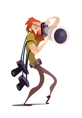 Red Photographer Cartoon Hunter. Vector illustration. Isolated in white background. Catch the moment