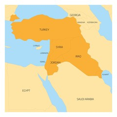 Map of Middle East or Near East transcontinental region with orange highlighted Turkey, Syria, Iraq, Jordan, Lebanon and Israel. Flat map with yellow land, thin black borders and blue sea.