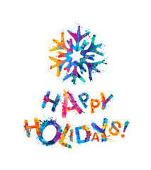 Happy Holidays! Congratulation card with snowflake