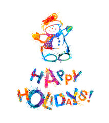 Happy Holidays! Congratulation card with snowman
