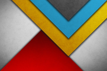 Material design wallpaper. Real paper texture. Gray shades, blue, red and yellow
