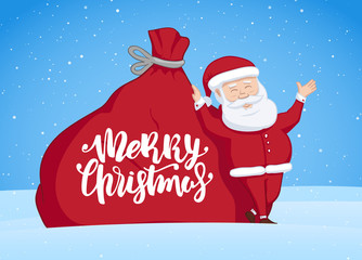 Vector illustration: Hand drawn Santa Claus is leaning on big sack with gifts. Handwritten lettering of Merry Christmas. Winter Greeting scene