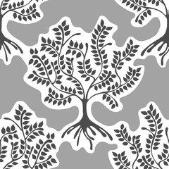 Seamless pattern, vector hand drawn repeating illustration, decorative ornamental stylized endless trees. Grey  abstract background, seamles graphic illustration Artistic line drawing silhouette