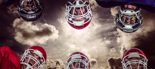 Composite image of american football huddle 3D