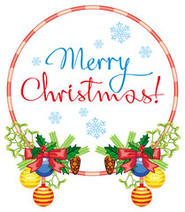"""Round label with Christmas bells and artistic written text: """"Merry Christmas!""""."""