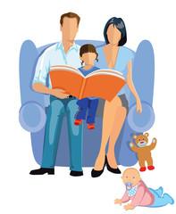 Eltern mit Kind beim vorlesen