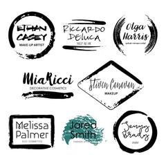 Set of Makeup Artist design logo templates.