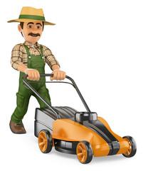 3D Gardener pushing a power mower