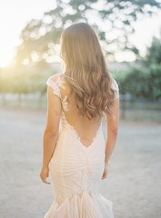 Woman wearing bridal wear, rear view