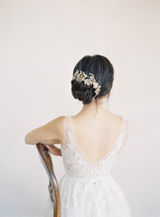 Rear view of bride