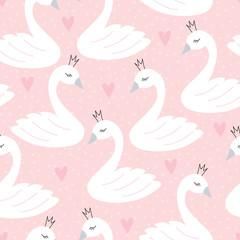 seamless swan princess pattern vector illustration