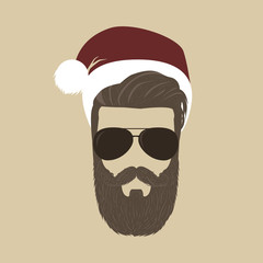 Christmas style beard man in red Santa hat and sunglasses