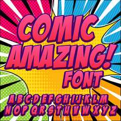 Comic alphabet set. Letters, numbers and figures for kids' illustrations, websites, comics, banners