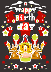 Greeting card happy birthday. Designed for printing invitations, wishes. Lion Drumming. Kangaroo and her baby. Squib. Balloon explosion, fireworks, stars. Vector illustration