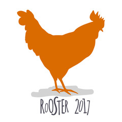 Rooster. Cock Illustration in hand drawn style. Symbol of 2017 New Year. Vector