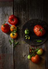Tomatoes on wooden table, still life, overhead view
