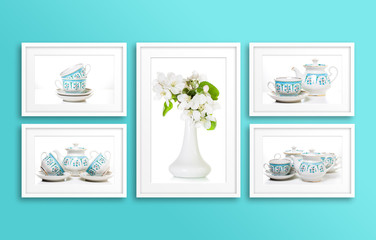 Frames collage with tableware motif posters, interiors decor mock up for kitchen