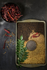 Raw rasam spices, overhead view