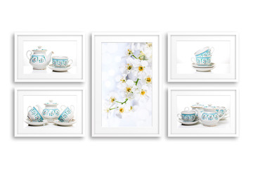 Frames collage with tableware posters, interiors decor mock up