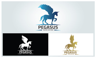 Pegasus logo design template ,Horse wings logo design concept ,Vector illustration