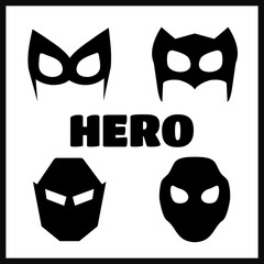 Superhero masks for face character in flat style