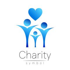 Vector illustration. Symbol of Charity.Sign people heart isolated on white background.Blue Icon company, web, card.Modern bright element. orphans Help kids campaign.Family