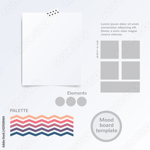 fashion mood board template - vector mood board template with color palette isolated on