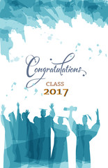 Graduation class 2017 congratulations in water color painting.