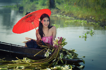 Asian woman wearing traditional thai culture, women have beautif