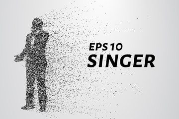 Singer from particles. Man sings consist of circles and dots. Vector illustration