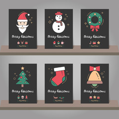 Christmas greeting card or invitation set. Christmas elements mo