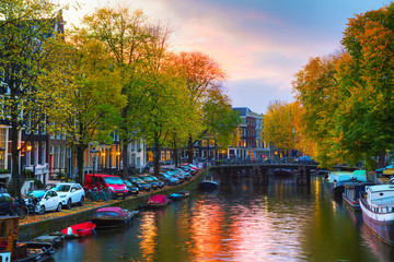 Amsterdam city view with canals and bridges