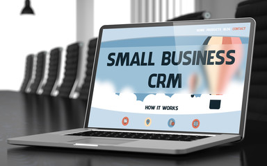 Small Business Crm on Laptop in Meeting Room. 3D.