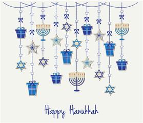 Happy Hanukkah card or background. vector illustration.