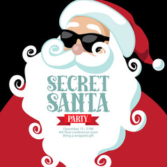 Secret Santa invitation template with Santa Claus. EPS 10 vector.