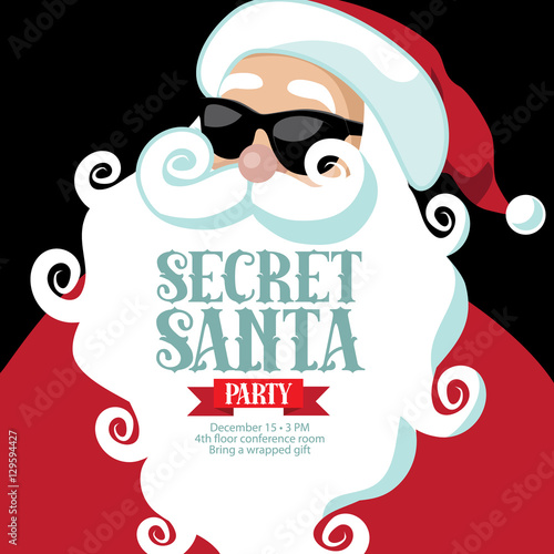secret santa invitation template with santa claus eps 10 vector