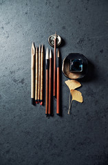 Still life with Japanese caligraphy brushes