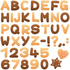 Cookies alphabet - sweet biscuit letters and numbers.
